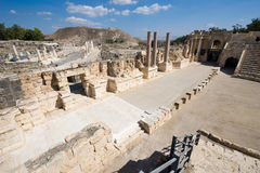 Ruins of Beit She'an. The stage of the amphitheatre of Beit She'An in Galilee in Israel Stock Photo