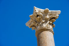 Ruins of Beit She'an. Top of a pillar in the amphitheatre of Beit She'An in Galilee in Israel Royalty Free Stock Photography