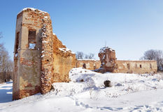 Ruins , Belarus. Winter Royalty Free Stock Photos