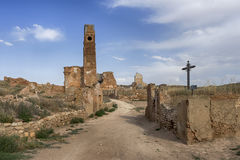 Ruins Belchite village destroyed by the bombing of the Spanish Civil War Royalty Free Stock Image