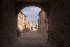 Ruins Belchite village destroyed by the bombing of the Spanish Civil War Royalty Free Stock Photography