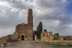 Ruins Belchite village destroyed by the bombing of the Spanish Civil War Stock Photo