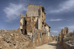 Ruins Belchite village destroyed by the bombing of the Spanish Civil War Royalty Free Stock Images