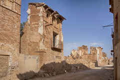 Ruins Belchite village destroyed by the bombing of the Spanish Civil War Stock Image