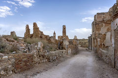 Ruins Belchite village destroyed by the bombing of the Spanish Civil War Stock Images
