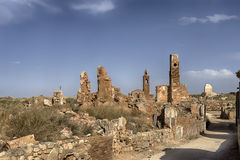 Ruins Belchite village destroyed by the bombing of the Spanish Civil War Stock Photography