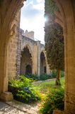 Ruins of Bellapais Abbey monastery in Kyrenia Girne, Northern Cyprus stock photo