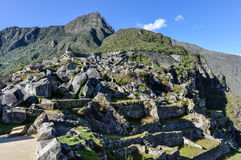 Ruins from below at Machu Picchu, the sacred city of Incas, Peru Stock Images