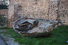 Ruins of a boat in Oia town, Santorini island, Greece Royalty Free Stock Image