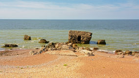 Ruins of bombarded bunkers  on the coast of the Baltic sea at Karosta Royalty Free Stock Photos