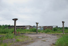 The ruins of a bombed-out industrial building royalty free stock photo