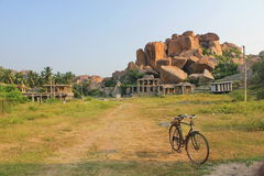 Ruins and boulders of Hampi, India. Hampi, the former capital of Vijayanagara Empire, whose powerful ruler,Sri Krishnadevaraya is very known in Indian history is Royalty Free Stock Images