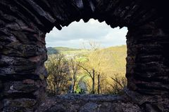 Ruins of the Bourscheid Castle in Luxembourg royalty free stock photo