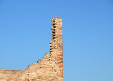 Ruins brick. Bricks destroyed a house abandoned and collapsed stock images
