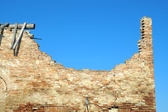Ruins brick. Bricks destroyed a house abandoned and collapsed royalty free stock photo