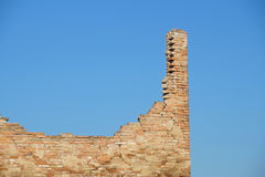 Ruins brick. Bricks destroyed a house abandoned and collapsed stock image