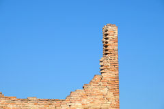 Ruins brick. Bricks destroyed a house abandoned and collapsed stock photography