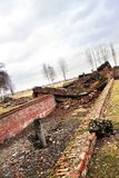 Ruins of brick buildings in Auschwitz Birkenau Concentration Camp Stock Images