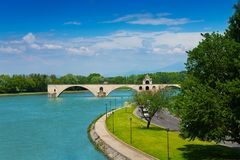 Ruins of bridge in Avignon, France Stock Photos