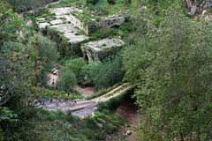 Ruins, Bridge, and Murky River. Ruins in rural Lebanon with a bridge above a roaring murky river Royalty Free Stock Photography