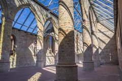 Ruins of the Broere church with modern glass roof in Bolsward Royalty Free Stock Images