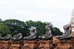 Ruins of buddha statue at Chaiwatthanaram Temple, Ayutthaya. Chaiwatthanaram Temple in ayutthaya province Thailand Stock Images