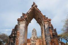 Ruins of buddha statues and pagoda of Wat Ratcha Burana in Ayutt. Ruins of buddha statues and pagoda of Wat Ratcha Burana temple in Ayutthaya historical park Royalty Free Stock Photos
