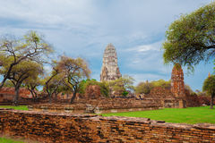 Ruins of buddha statues and pagoda of Wat Ratcha Burana in Ayutt Royalty Free Stock Images