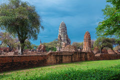 Ruins of buddha statues and pagoda of Wat Ratcha Burana in Ayutt Royalty Free Stock Photography