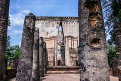 Ruins of the buddhist Wat Sri Chum Temple, Thailand. Ruins of the buddhist Wat Sri Chum Temple, Sukhothai Historical Park, Thailand Stock Photos