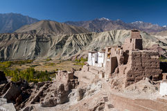 Ruins of budhist temple in Basgo, Ladakh, India Royalty Free Stock Images