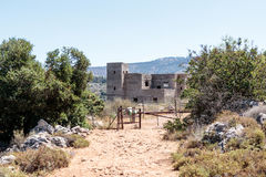 Ruins of the building of the British police station in Ein Tin at the beginning of the descent  to the Amud River in Israel. Ruins of the building of the British Stock Photo