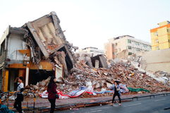 The ruins of the building after the demolition of the Stock Photo
