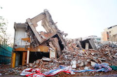 The ruins of the building after the demolition of the Royalty Free Stock Photo