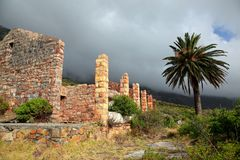 Ruins of building in mist Stock Photography