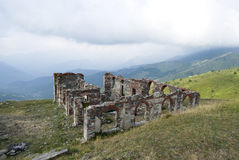 Ruins of a building in mountains Royalty Free Stock Photos
