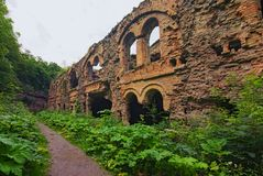 Ruins of buildings within in abandoned Tarakaniv Fort in the summer cloudy day. Rivne oblast, Ukraine.  stock photo