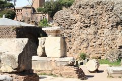 Ruins on Forum Romanum. Ruins of buildings and columns on Forum Romanum in Rome, Italy Royalty Free Stock Photo