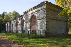 Ruins of buildings Forest greenhouses in the Gatchina Palace Park. Leningrad region Stock Photo