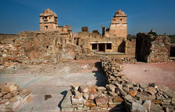 Ruins of buildings of old Chitaurgarh Fort in India Royalty Free Stock Images