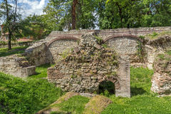Ruins of the builings in the ancient Roman city of Diokletianopolis, town of Hisarya, Bulgaria Stock Photography
