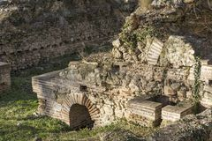 Ruins of the builings in the ancient Roman city of Diokletianopolis, town of Hisarya, Bulgaria