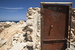 Ruins of a bunker on the coast of Sardinia Royalty Free Stock Images