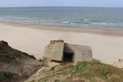 Ruins of a bunker in Denmark, on the beach between Lokken and Lonstrup. Royalty Free Stock Photography