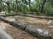Ruins of a bygone era of plantations and slavery from the the 18th century. These are the ruins of the main house and slave quarters of a former plantation royalty free stock photography