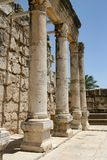 Ruins of Byzantine Basilica in Capernaum, Israel Stock Image