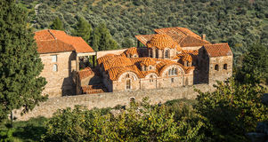Ruins of the Byzantine castle town of Mystras royalty free stock photography