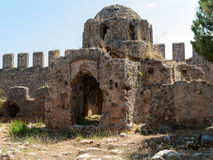 Ruins of a Byzantine church in the castle Ichkale in Alanya Stock Image