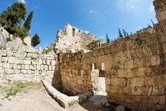 Ruins of Byzantine church in Jerusalem Stock Photo