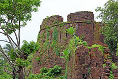 Ruins of Cabo de Rama Fort. Remains of one of the turrets of Cabo de Rama Fort in Goa, India. A centuries old fort, last owned by the Portuguese during their stock photo